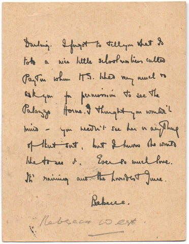 WEST Rebecca - Autograph Letter Signed 1921 to Reginald Turner