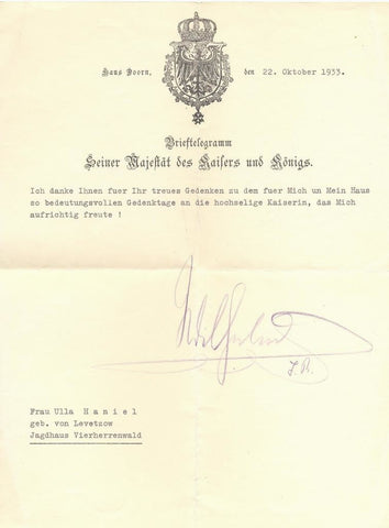 WILHELM II - Typed Letter Signed 1933