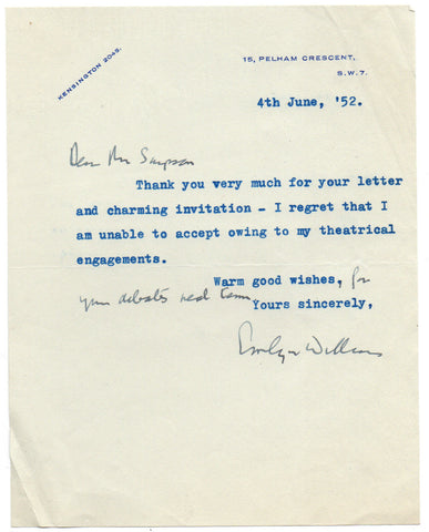 WILLIAMS Emlyn - Typed Letter Signed 1952