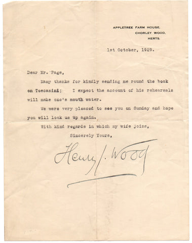 WOOD Sir Henry - Typed Letter Signed 1929 sending thanks for a book on Toscanini