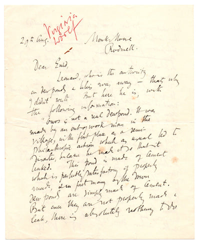 WOOLF Virginia - Autograph Letter Signed giving gardening advice