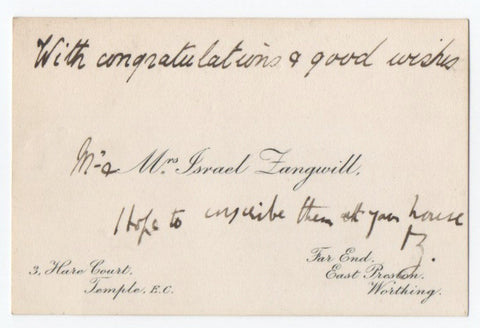 ZANGWILL Israel - Visiting Card with autograph message