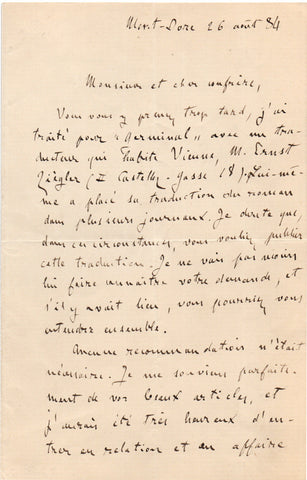 ZOLA Emile - Autograph Letter Signed 1884 about the translation of Germinal