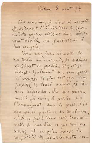 ZOLA Emile - Autograph Letter Signed 1893 before attending a congress of journalists
