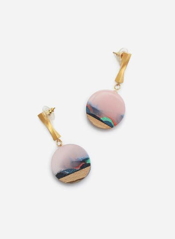 Sunrise Twist Disc Earrings by Ejing Zhang Studio