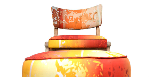 Sunset fabric upholstered on chair and stool
