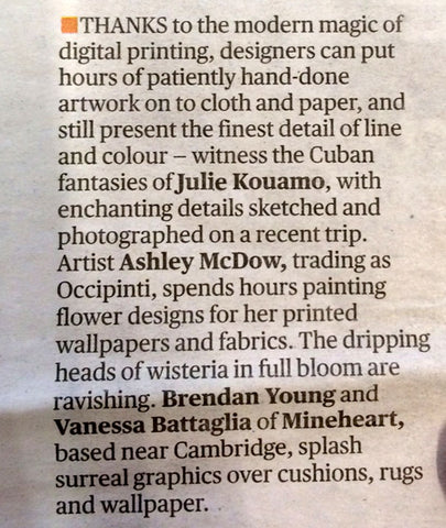 Evening Standard article by Barbara Chandler reporting on Maison et Objet 2015 feat Kouamo