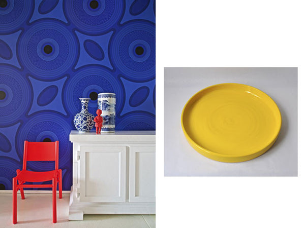 Tapiwa Matsinde Ghislaine Viñas Shweshwe Wallpaper by Flavor Paper (Left) Fokhar collection, Large Yellow Tray by Tinja