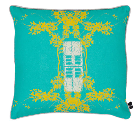 Vinales Trinidad Turquoise sunshine cotton Kouamo cushion