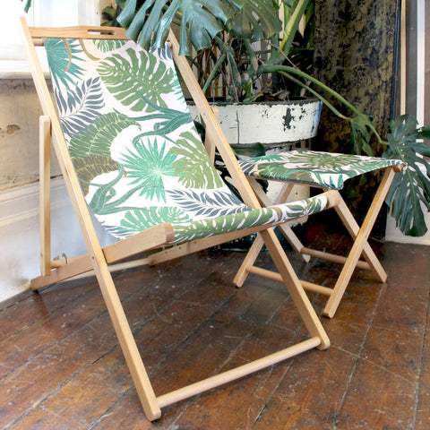 Tropical Palm Print Garden Deckchair from More by Design