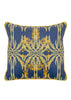 Kouamo Jutias Blue and Yellow Cotton Velvet Cushion cover (Bathed in the Sun pattern) travel-inspired by Cuba