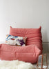 Esplanade Cotton Cushion (In the Shade) on Ligne Roset Togo Pink Sofa