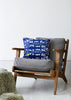 Bamena Blue linen Cushion (First Sun in the Blue) on Karla Swoon editions chair photographed by Yeshen Venema