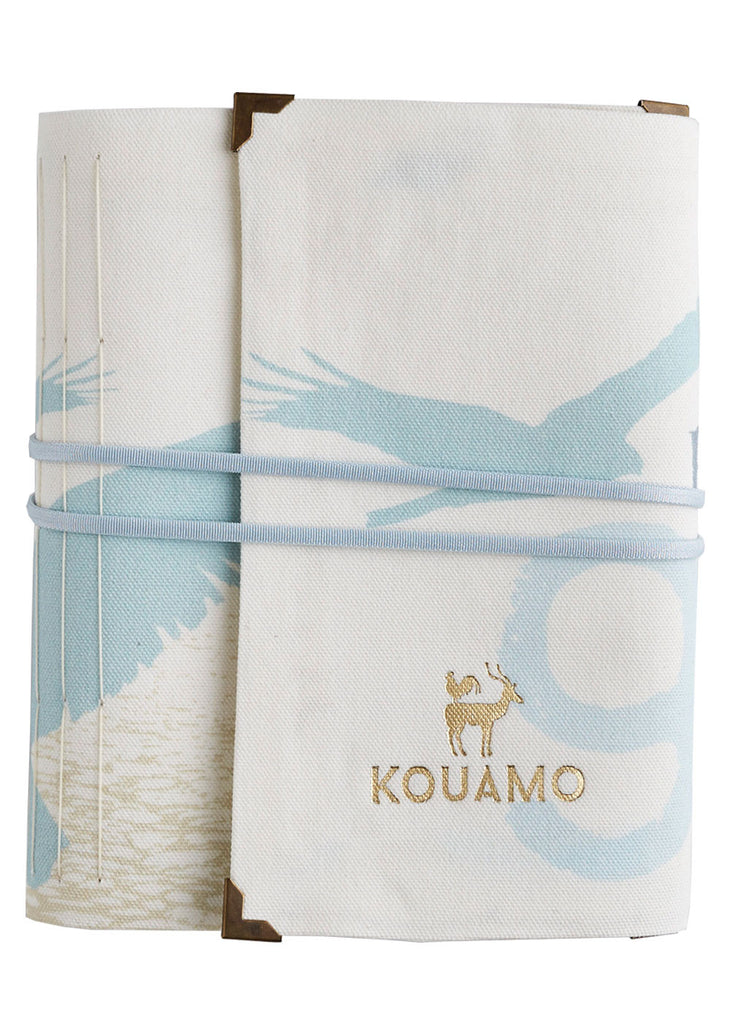 Kouamo Havana Travel Journal blue and white cotton Feathers Breath front