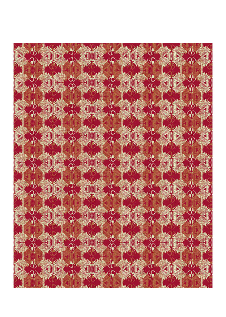 Kouamo Babbler Wallpaper Red Ferrous colourway