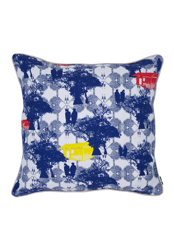 Bangoua Blue Linen Cushion (Primary)
