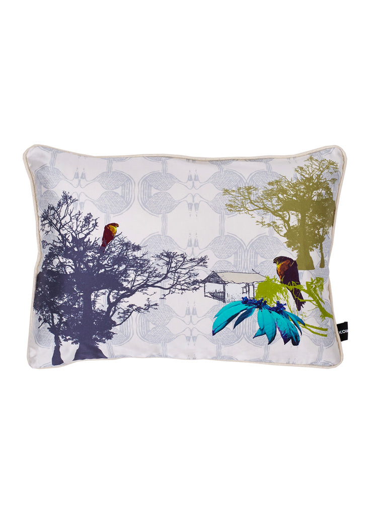 Kouamo Esplanade Blue and Green Silk Cushion (The Clearing)