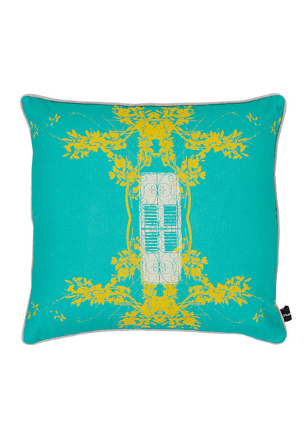 Kouamo - Trinidad Cotton Cushion (Turquoise Sunshine)