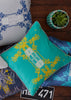 Kouamo - Trinidad Cotton Cushion (Turquoise Sunshine) photographed by Yeshen Venema
