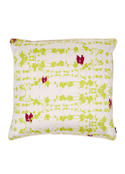 Bamena Dark Pink and Lime Green Silk Cushion (Unfurl Green) cotton silk blend 45 x 45cm