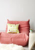 Bamena Dark Pink and Lime Green Silk Cushion (Unfurl Green) Photographed by Yeshen Venema