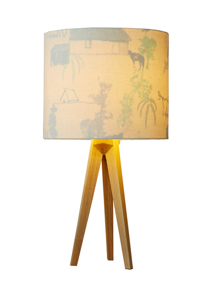 Kouamo - Valle de Vinales Lampshade (White Sands) - 25x31 cm / Table lamp base / Linen - 1