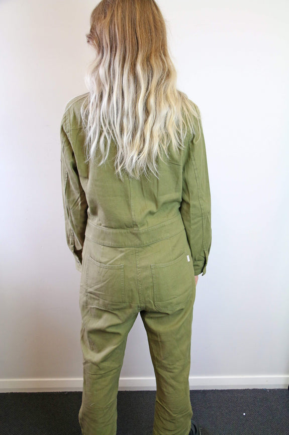 BRIXTON PLAYSUIT BRIXTON MELBOURNE CROP OVERALL - WASHED OLIVE