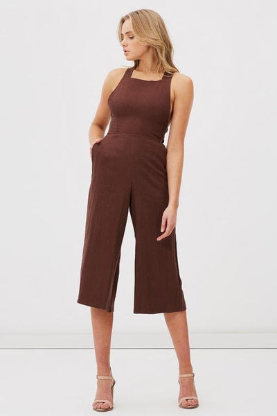 CHARLIE HOLIDAY DRESSES 6 CHARLIE HOLIDAY UTOPIA JUMPSUIT - CHOCOLATE BROWN