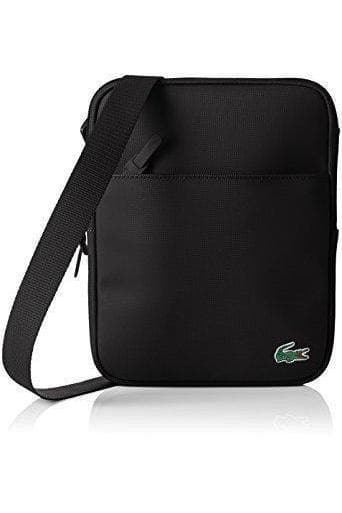 LACOSTE ACCESSORIES LACOSTE L1212 FLAT CROSSOVER BAG - BLACK