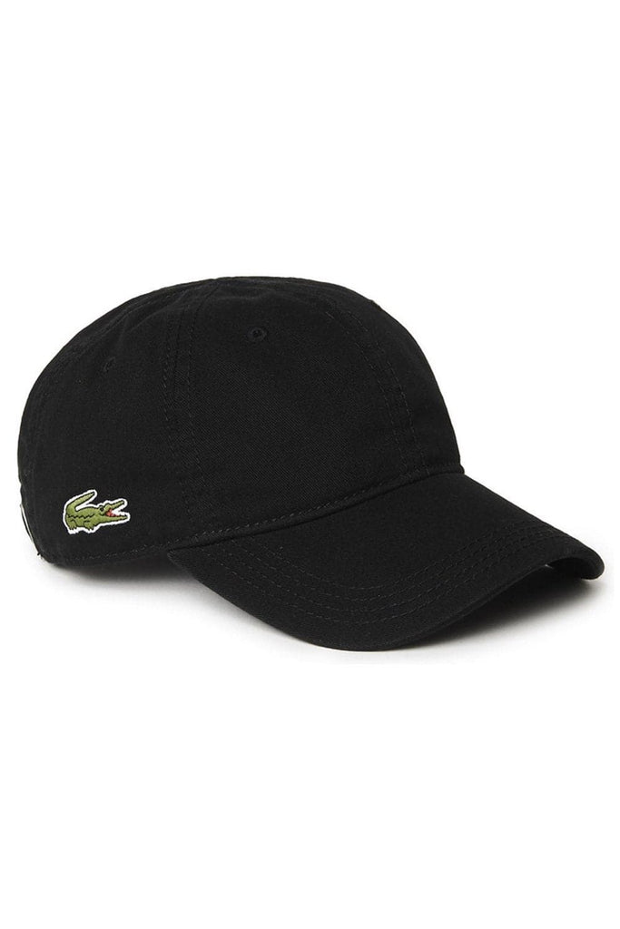 LACOSTE HEADWEAR LACOSTE BASIC SIDE CROC COTTON CAP - BLACK