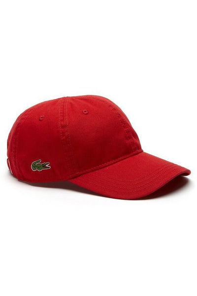 LACOSTE HEADWEAR LACOSTE BASIC SIDE CROC COTTON CAP - RED