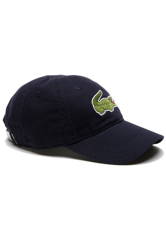 LACOSTE HEADWEAR LACOSTE LARGE EMBROIDERED CROC CAP - NAVY