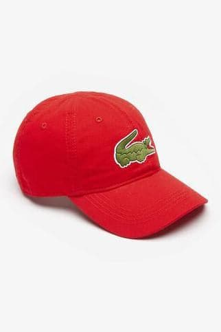 LACOSTE HEADWEAR LACOSTE LARGE EMBROIDERED CROC CAP - RED