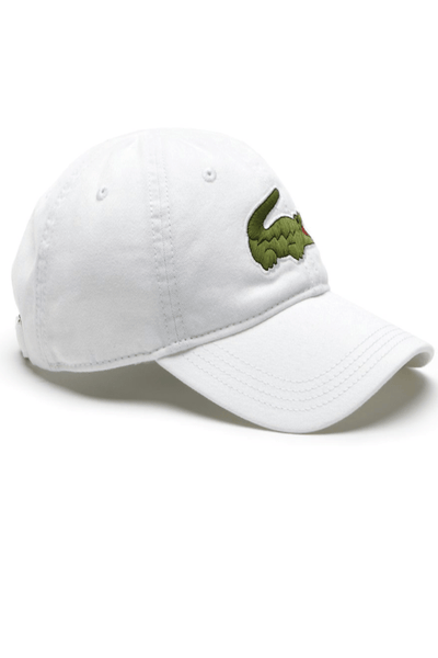 LACOSTE HEADWEAR LACOSTE LARGE EMBROIDERED CROC CAP - WHITE