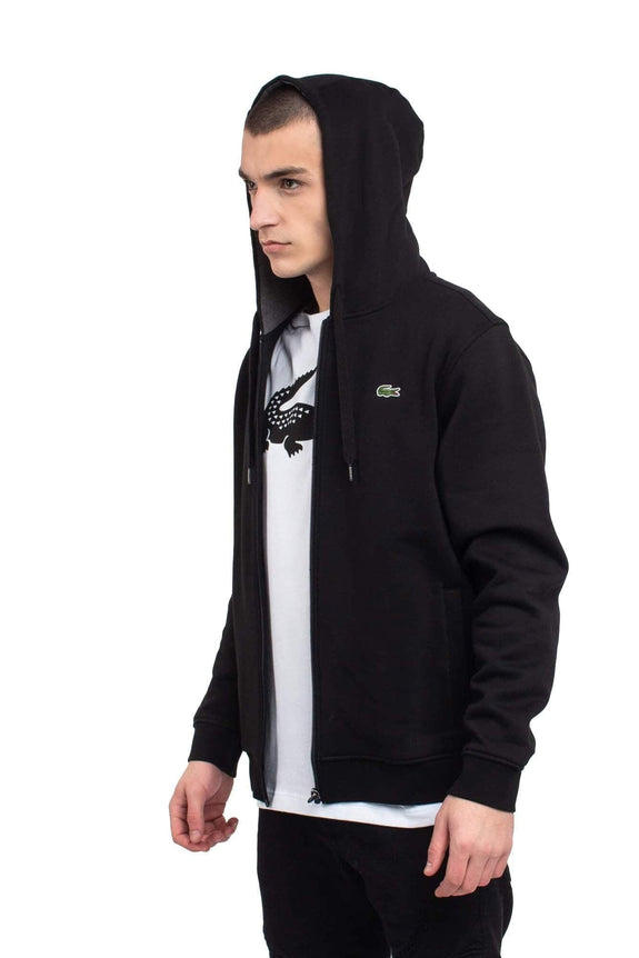 LACOSTE HOODIES LACOSTE TRAINING ZIP FRONT HOODIE - BLACK