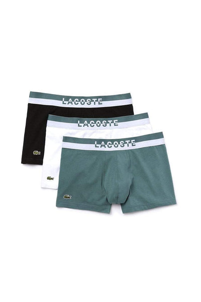 LACOSTE MENS UNDERWEAR LACOSTE 3 PACK CASUAL TRUNK - GREEN/WHITE/BLACK