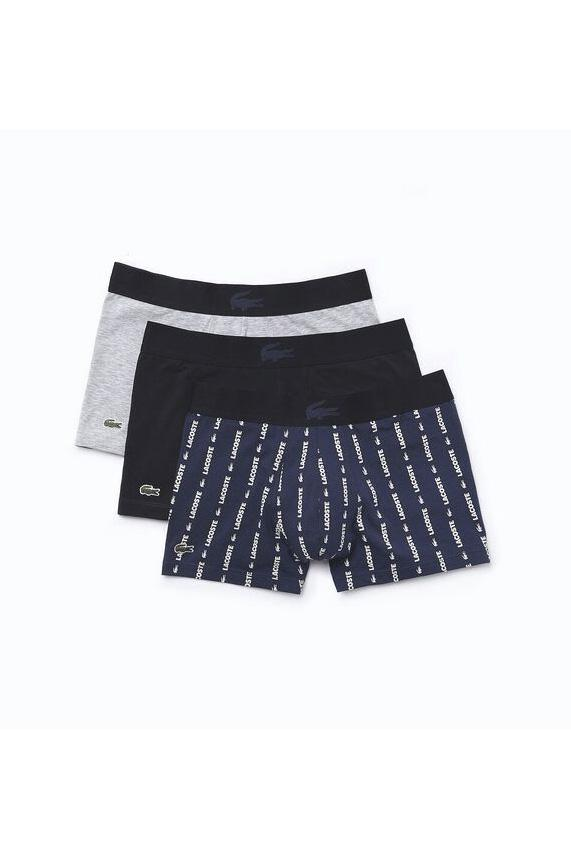 LACOSTE MENS UNDERWEAR LACOSTE 3 PACK CASUAL TRUNK - PINE/WHITE/NAVY