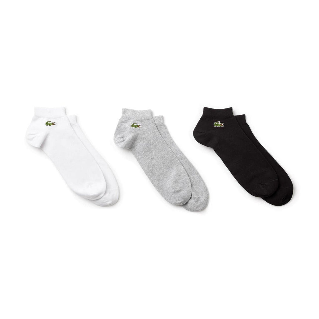 LACOSTE SOCKS LACOSTE 3 PAIR ANKLE SOCK PACK UNISEX - BLACK/WHITE/GREY