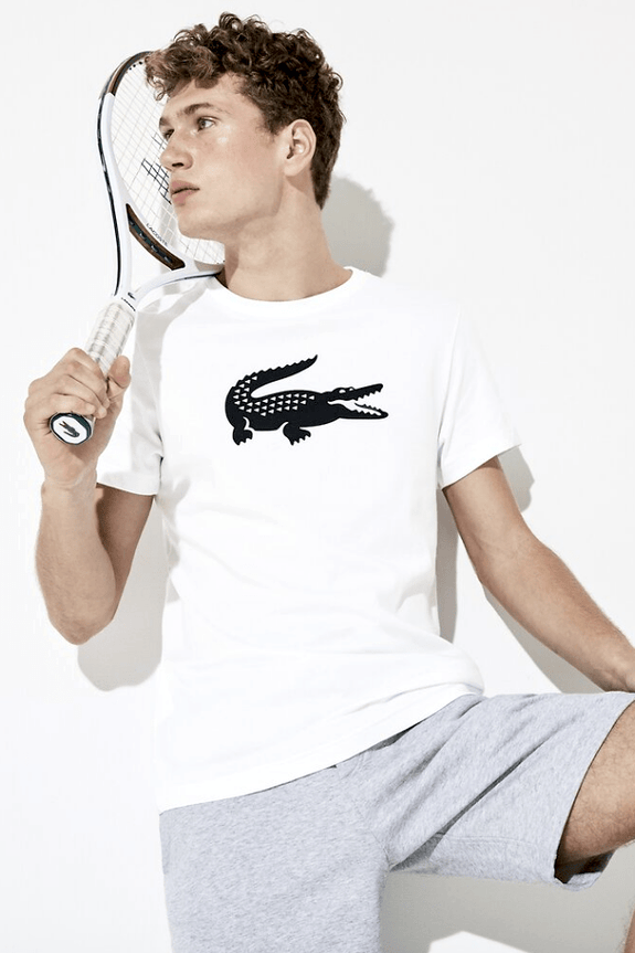 LACOSTE TEES LACOSTE BIG CROC TEE - WHITE/ BLACK