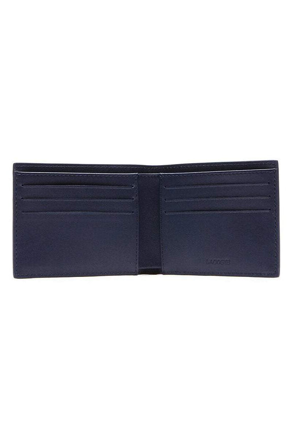 LACOSTE WALLET LACOSTE BILLFOLD LEATHER COIN WALLET - NAVY