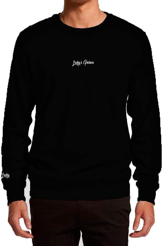 "LUCKY'S PARLOUR CREW NECK S LUCKY'S PARLOUR ""TRAD ANGEL"" CREW SWEATER - BLACK"