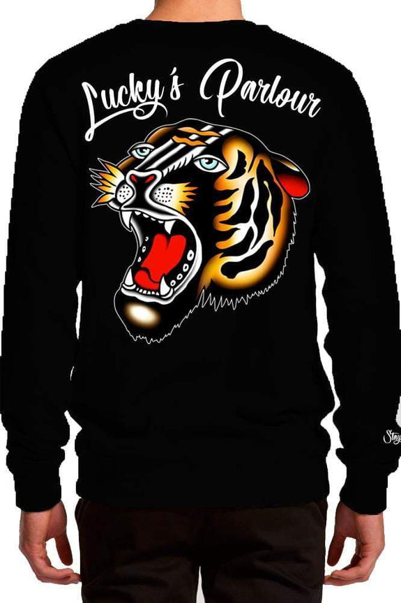 "LUCKY'S PARLOUR CREW NECK LUCKY'S PARLOUR ""TRAD TIGER"" CREW SWEATER - BLACK"