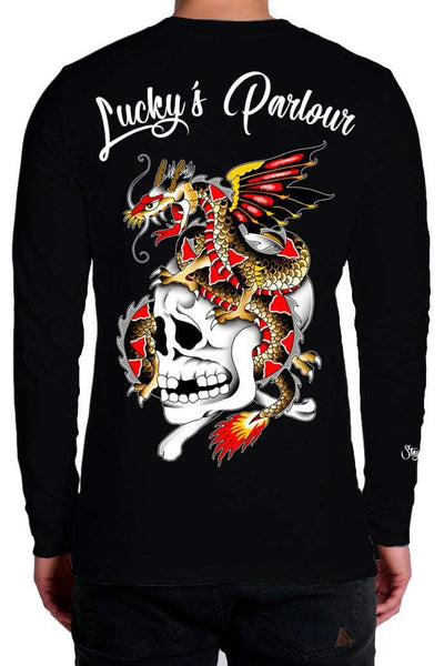 "LUCKY'S PARLOUR LONGSLEEVES LUCKY'S PARLOUR ""DRAGON SKULL""  LONG SLEEVE TEE - BLACK"