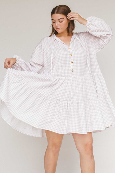 LULLABY CLUB DRESSES LULLABY CLUB AVALON SMOCK DRESS - LILAC GINGHAM