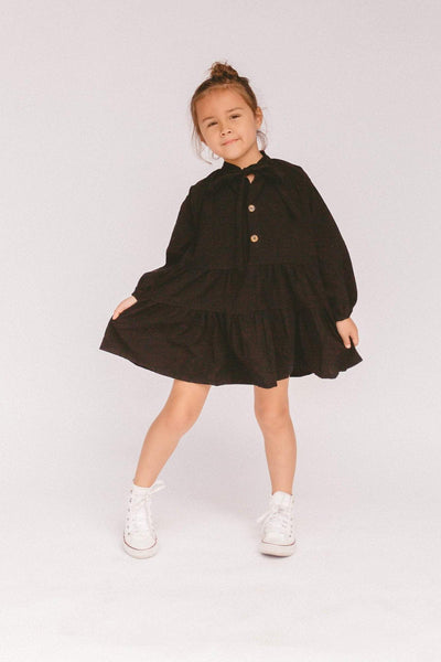 LULLABY CLUB KIDS DRESS LULLABY CLUB KIDS AVALON SMOCK DRESS - BLACK