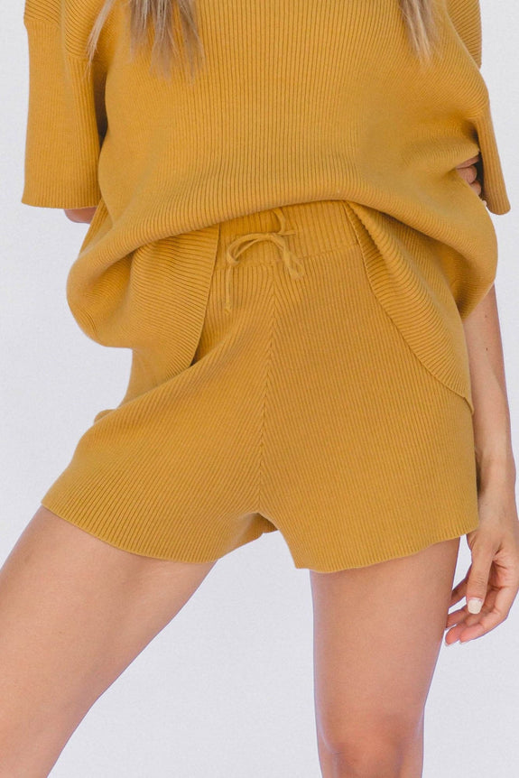 LULLABY CLUB LADIES SHORTS LULLABY CLUB ALEX KNIT SHORTS - MUSTARD
