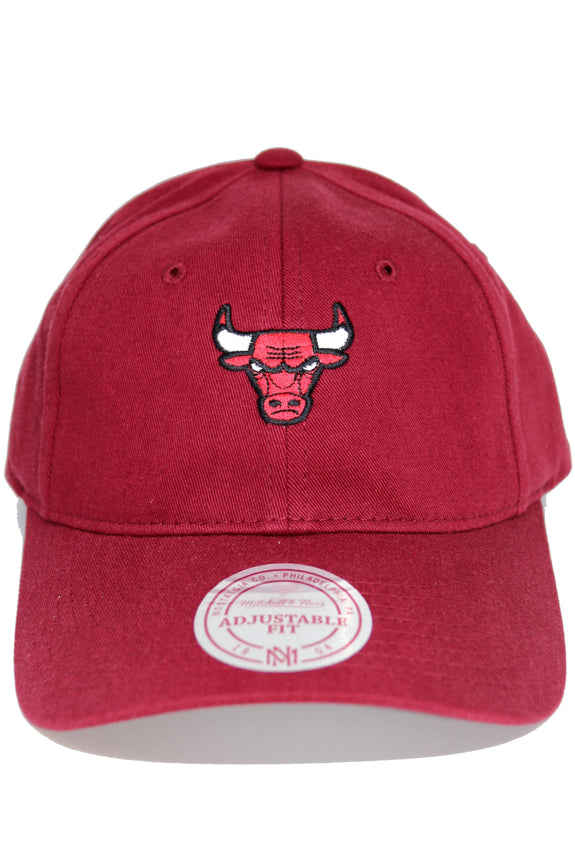 MITCHELL & NESS HEADWEAR MITCHELL & NESS CHICAGO BULLS WASHED COTTON LO PRO - BURGUNDY