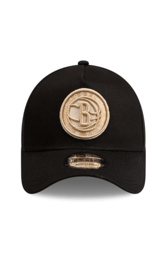 MITCHELL & NESS HEADWEAR NEW ERA A FRAME SNAPBACK CAP BROOKLYN NY - BLACK/TAN