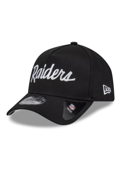 MITCHELL & NESS HEADWEAR NEW ERA A-FRAME SNAPBACK CAP SCRIPT RAIDERS - BLACK/WHITE