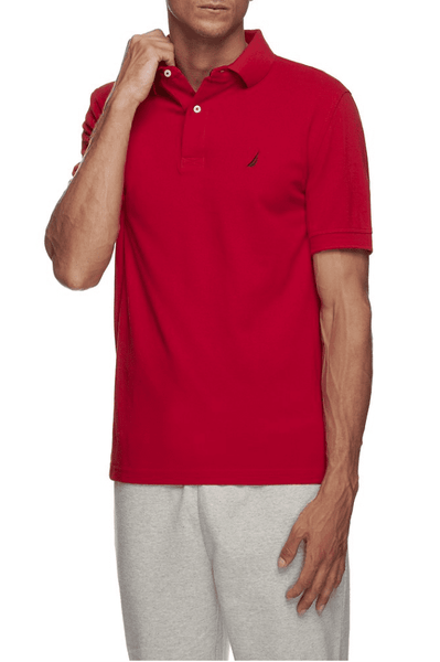 NAUTICA POLO XS NAUTICA SHORT SLEEVE SOLID POLO - FLARE RED
